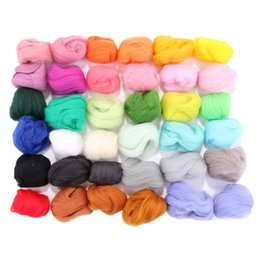 Wholesale Raw Hand - 36 Pcs Multi Colors Merino Wool Felt Fibre Woolen Yarn for DIY Doll Needle Felting Wool Hand Spinning Needlework Raw Wool Roving