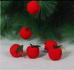 Adornos de espuma online-Christmas Party Mini Merry Christmas Tree Adornos Apple 4 cm Decoraciones para fiestas Apple Foam Festival Decor Supplies