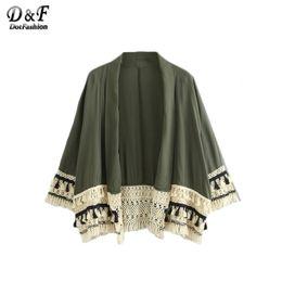 Wholesale Kimono Open Front - Dotfashion Summer Beach Wear Loose Tops Women Tassel Trimmed Long Sleeve V Neck Color Block Open Front Kimono
