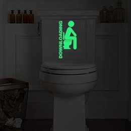 Wholesale Wall Stickers For Toilets - Creative toilet stickers characters cartoon fluorescent paste toilet decoration stickers wall stickers for toilet by DZY