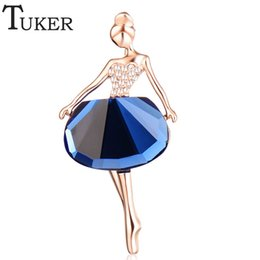 Wholesale Rhinestone Brooches For Dresses - Wholesale- TUKER Gold Plated Jewelry New Fashion Dress Icons Pins Brooches Ballet Girl CZ Wedding Bridal Rhinestone Dresses for Women