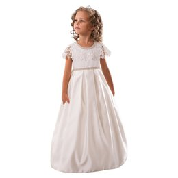 Wholesale High Qualit Dress - 2017 New Popular Satin White Hand Made Flower Girl Dresses With Lace Cover Coat Pearls Beaded Kids First Communion Dresses 2-14T High Qualit