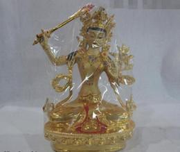 11 Tibet Fane Buddhism Copper Gild Painted Manjusri Bodhisattva Kwan-Yin GuanYin da