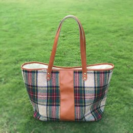 Wholesale Cotton Tartan Fabric Wholesale - Buffalo Check Purse Wholesale Blanks Sanded Fabric Plaid Tote Bag with PU Faux Leather Handles Tartant PU Purse Soft Handbag DOM106405
