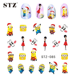 Wholesale Nail Stickers Xmas - Wholesale- 1X Nail Art Christmas Cartoon Designs Cute&Lovely Decals Stickers Nail Art Decorations Watermark Xmas Snow Nail Charm STZ085