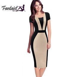 Wholesale Optical Summer Dress - Wholesale- Fantaist Patchwork Contrast Color Optical Illusion Slim Wear To Work Fitted Pencil Dress Brief Causal Women Dress Summer 2016