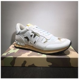 Wholesale Shoes 64 - Women Rockstuds Leather Suede Lace Rockrunner Shoes Men Camouflage Studded Shoes Genuine Leather Sneaker Eur Size #64
