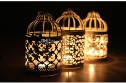 Wholesale Vintage Candlestick Holders - Vintage White Hollow-out Iron Candle Holders Candlesticks Ironwork Hanging Lanterns Candle Stands Christmas Decoration Home Party Ornaments