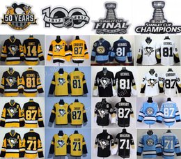 Wholesale Final Cup - 2017 Stanley Cup Final Champions Pittsburgh Penguins 14 Chris Kunitz Jersey 71 Evgeni Malkin 81 Phil Kessel 87 Sidney Crosby 50 Years 100th