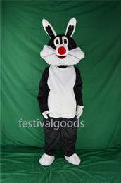 Wholesale High Quality Rabbit Costume - Black rabbit mascot costume high quality fancy dress adult size party Halloween,christmas party clothing