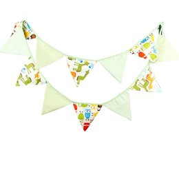 Wholesale Cm Themes - Wholesale-3.2m 12 Flags nighthawk Theme Cotton Fabric Bunting Pennant Flags Banner Garland Wedding Birthday Baby Shower Party Decoration