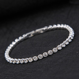 Wholesale Holiday Band - Simple Diamond Crystal Bracelet Silver Gold Plated Bracelet Bangle Cuff Bands for Women Fashion Wedding Jewelry Drop Shipping