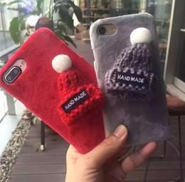 Iphone fait à la main en Ligne-3D bricolage tricoté Cas Parttern Fuzzy en peluche cas pour iphone 7 6 6 s plus fait à la main en automne hiver belle chaude cas de téléphone PC de villi