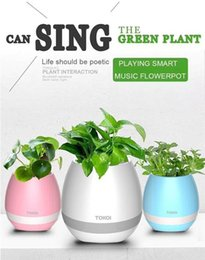 Wholesale Mini Flower Pots Gifts - New Creatives Bluetooth Speaker Smart Music Flower Pot Touch Induction Creative Gift Indoor Green Plant Music Potted Plant Mini Spearkers