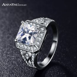 Wholesale Tanzanite Silver Rings Wholesale - ANFASNI 2017 Square Ring Rose Gold Color and Silver Color Clear AAA Cubic Zirconia Inlayed Ladies Knuckle Rings Anillos CRI0016