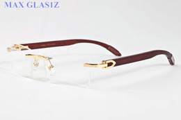Wholesale Alloy Wells - sell well new style mens brand outdoor sports wooden sunglasses fashion designer classic rimless buffalo horn glasses with box