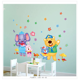 Wholesale Bear Wall Decals - L81601 Cute Cartoon Animal Elephant Bear Decals Flowers PVC Wall Stickers Home Decor for Kids Room Free Shipping