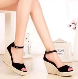 Wholesale Sandals 7cm Heel - Summer new arrival 2017 women's shoes fashion sexy straw braid buckle open toe platform wedges female 10cm and 7cm high heels sandals