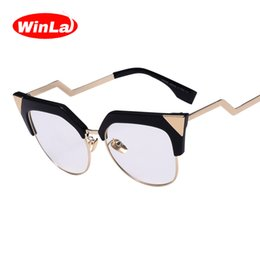 Wholesale Eye Glasses Temple - Wholesale- Winla Luxury Brand Designer Ladies Cat Eye Glasses Transparent Nerd Glasses Alloy Z-Shape Temple Spectacles Accessories Female