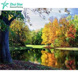 Wholesale Needlework Pictures - 3D Diy diamond paintings drill rhinestone Diamond embroidery mosaic Hand made needlework Beautiful autumn pictures By numbers