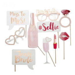 Wholesale wedding photobooth props - 10Pcs lot Hen Party Photo Booth Prop Team Bride To Be Photobooth Wedding Decoration Bridal Shower Bachelorette Party Supplies