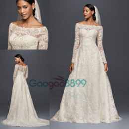 Wholesale champagne crystal feather dress - 2017 Oleg Cassini Modest Vintage Wedding Dresses with Long Sleeves Lace Applique Off-shoulder Garden Outdoor Plus Size Bridal Gowns
