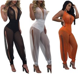 Wholesale Sexy Legging Outfits - Wholesale- 2017 Summer New Sexy Jumpsuits Wide Leg One Piece Outfits Full Bodysuit See Through Backless Mesh Rompers Womens Jumpsuit
