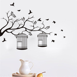 Wholesale Tree Vinyl Wall Sticker Paper - 95x70cm Tree Branches Bird Cage Design Wall Sticker Removable Art Mural Decal for Home Decoration Children's Bedroom Kids Room
