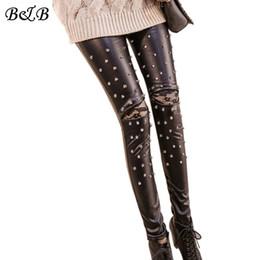 Wholesale Plus Size Leather Skinny Pants - Wholesale- 2016 New style Beading Legging Thicken Autumn Winter PU Leather pants Rivet Elastic stretch Slim woman skinny Leggings Plus size
