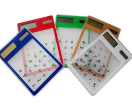 Wholesale Mini Calculator Gift - Creative Gifts Mini Calculator Ultra Slim Solar Power Touch Screen LCD 8 Digit Credit Card Electronic Transparent Calculator