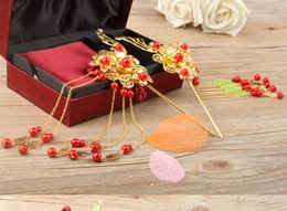 Wholesale Chinese Bridal Headdress - accessories tree Chinese Traditional Headdress Classical Bridal Hair Accessory Jewelry Golden Phoenix Hairpins Step Shake jewelry key