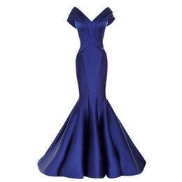 Wholesale Light Blue Satin Shirt - Royal Blue Mermaid Evening Dresses 2017 Long Off Shoulder Zipper Sweep Train V Neck Pleat Prom Gowns Vestido De Noite