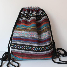 Wholesale Fabric Chic - LilyHood Women Fabric Backpack Female Gypsy Bohemian Boho Chic Aztec Ibiza Tribal Ethnic Ibiza Brown Drawstring Rucksack Bags