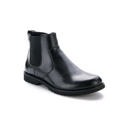 Wholesale Zipper Shoes For Men - Wholesale- Winter Ankle Chelsea Boots With Short Fur Lined For Men Zipper Martin Shoes With Rubber Bottom Free Shipping Eur Size 40-45