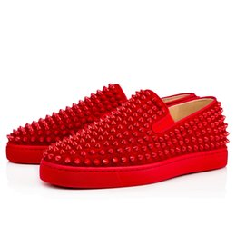 Wholesale Outdoor Roller - Ultra-comfortable spikes roller boat genuine leather slip on Sneaker Shoes Red Bottom Women,Men outdoor casual walking Free Shipping