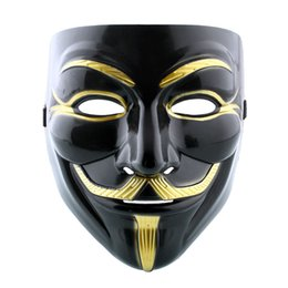 Wholesale Masquerade Cool Party - Wholesale-Cool Cosplay Mask V For Vendetta Mask Anonymous Movie Guy Fawkes Halloween Masquerade Party Face Costume Accessory Black