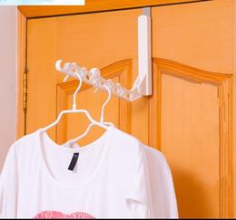 Wholesale Hook Frame - Clothes Rack Foldable Coat Hanger 6 Hole Plastic Hangers Clothing Drying Clothesline Racks Hook Behind Door Window Frame Tool 6 7yh D R