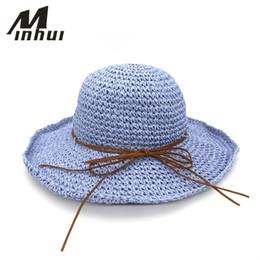 Wholesale chapeau femme - Wholesale- Minhui Bowknot Straw Hats for Women Summer Beach Fashion Sun Hat Floppy Wide Brim Foldable Panama Chapeau Femme Wide Brim Hat