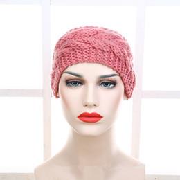 Wholesale Crochet Head Band Women - 2017 Fashion Women Crochet Knitted Headband Chunky Twist Turban Knit Head Wrap Ears Warm Multicolor Solid Hair Band Accessories