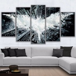 Wholesale Digital Movie Picture Frames - Canvas Frame Wall Art Pictures Home Decor For Living Room 5 Pieces Batman Movie Painting HD Printed City Landscape Poster