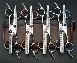 Wholesale Top Hair Shear Sets - Wholesale- 703# 6'' Japan Kasho 1 Pair 2Pcs Set Cutting Scissor +Thinning Shears TOP GRADE Hairdressing Scissors 6cr Barbers Hair Scissors