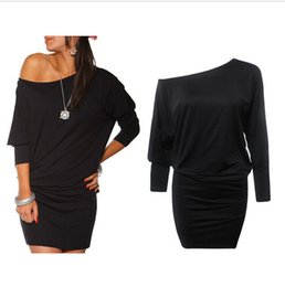Wholesale Womens Batwing Sleeve Dress - Womens Long Sleeve Off Shoulder Mini Batwing Tunic Short Dress Long Top short vestidos dress party dresses