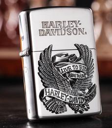 Wholesale Eagle Lighter - Gift! Metal windproof kerosene lighter Men cigar cigarette The eagle wings Black ice silver eagle side flame