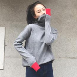 Wholesale Joker Split Fashion - Wholesale- [soonyour]2017 New Pattern Fashion High Lead Easy Long Sleeve Split Joint Hit Color Self-cultivation Joker Sweater MY19961