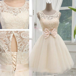 Wholesale Junior Bridemaid Dresses Gray - 2017 Cheap Champagne Short Bridesmaid Dresses Knee Length Tulle Wedding Gown Lace-up With Bow Junior Bridemaid Party Dress