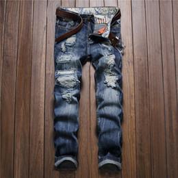 Wholesale Harem Pants Plaid Man - Wholesale- Men Jeans Ripped Biker Hole Denim robin patch Harem Straight punk rock embroidery jeans for men Pants