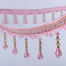 Wholesale Sewing Pendants - Top Selling Elegent Pendant Curtain Sewing Trim Crystal Beaded Ribbon Crafts DIY Lace Fabric Decoration Solid Color YR0108
