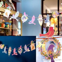 Wholesale Hanging Birds Home Decor - 12 pcs set freedom bird color paper flags hang Pennants birthday wedding Party Banner Shop photography home Decor Supplies