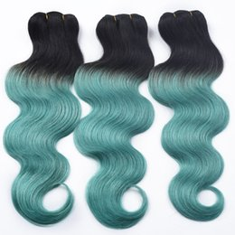 Wholesale Two Toned Curly Hair - 8A Green Brazilian Hair Body Wave Brazilian Virgin Hair Two Tone 3 Bundle Brazilian Green Body Wave Sexy Green Ombre Human Hair