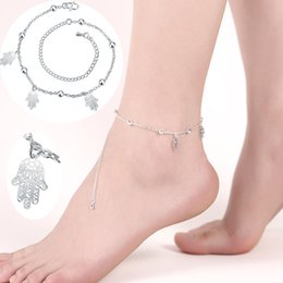 Wholesale Women Sexy Figures - NEW Fashion Sexy Fatima Hamsa Hand Anklet Bracelets for Women Silver Plated Leg Bracelet Foot Chain Jewelry Female Exquisite Anklets Gifts